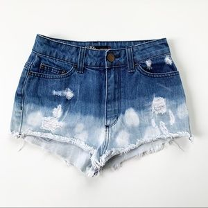 BDG High Rise Cheeky Distressed Bleached Shorts